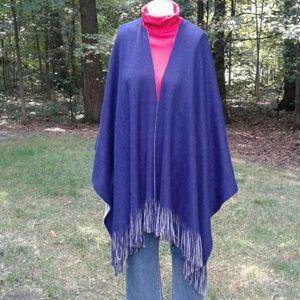 Steve Madden Navy Blue/Gray Reversible Knit Wrap